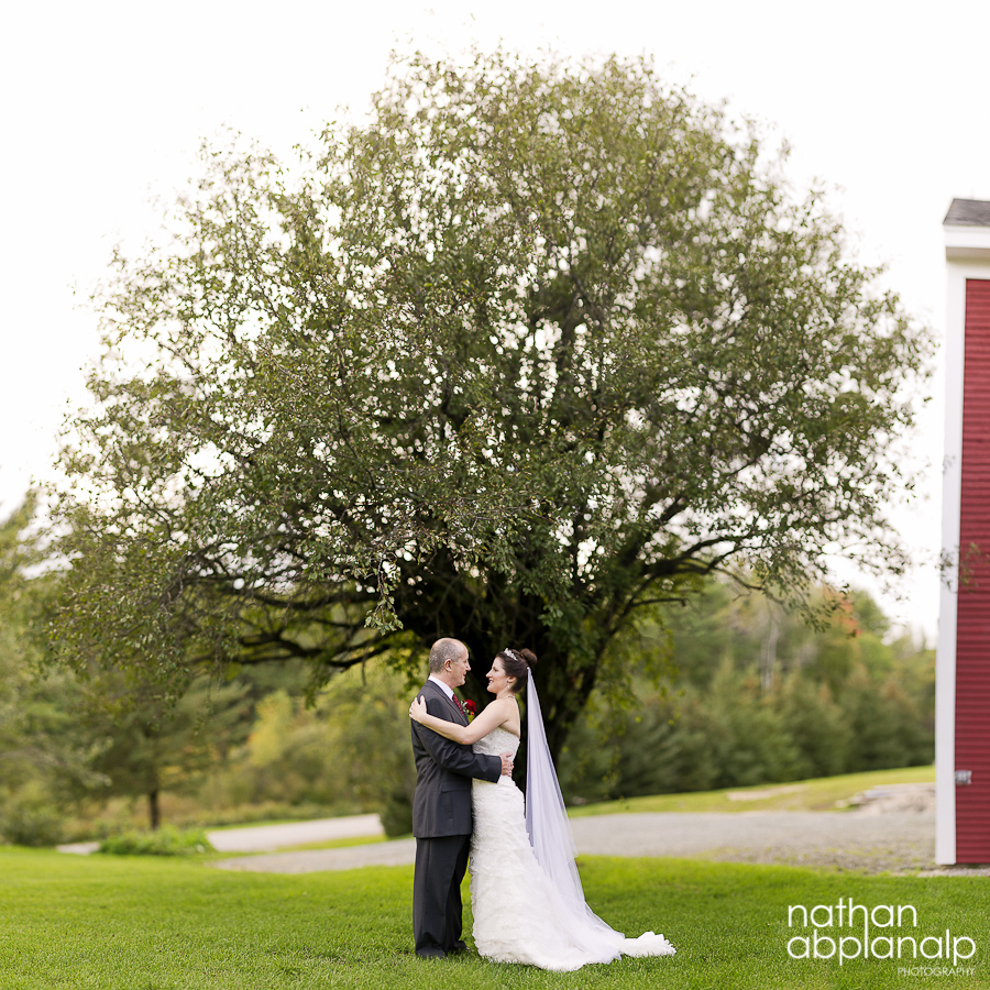 Bride and Groom embracing in front of a tree in New Hampshire