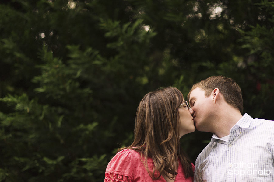 Couple kissing during an engagement session in Charlotte NC