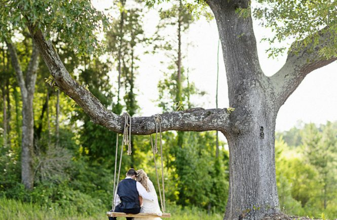 Bride & Groom on Swing at the Arbors Events in Troutman NC