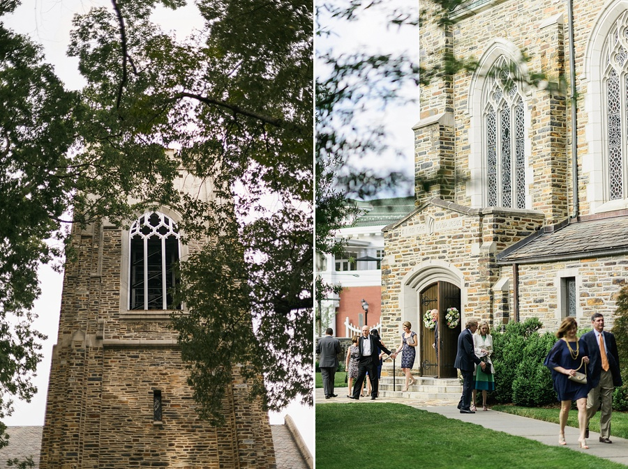 Wedding guests outside of Myers Park United Methodist Church in Charlotte NC