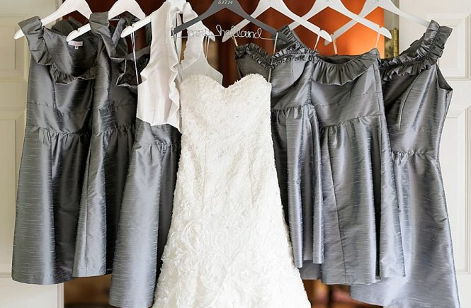 Bridal gown with bridesmaid dresses at Myers Park United Methodist Church in Charlotte NC