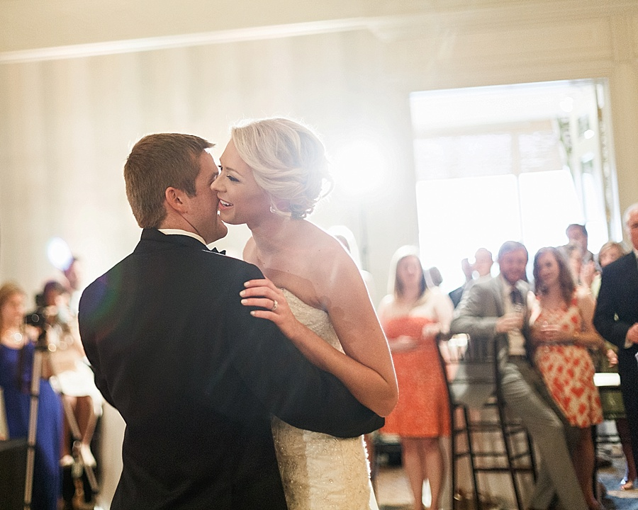 Bride and groom share their first dance at the Carmel Country Club in charlotte NC
