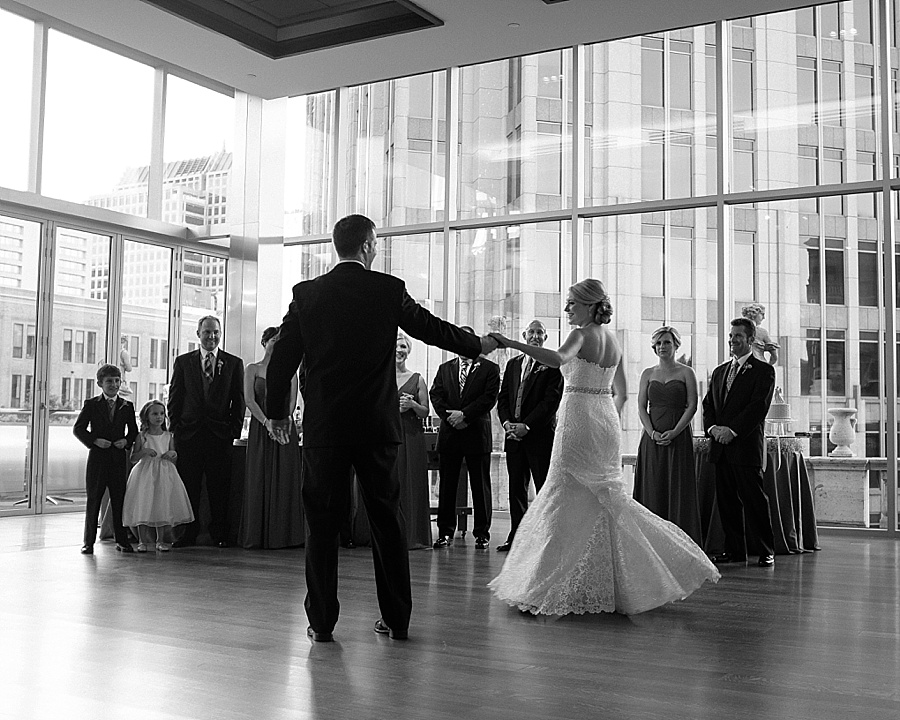 Bride and groom share first dance at Foundation for the Carolinas in Charlotte NC