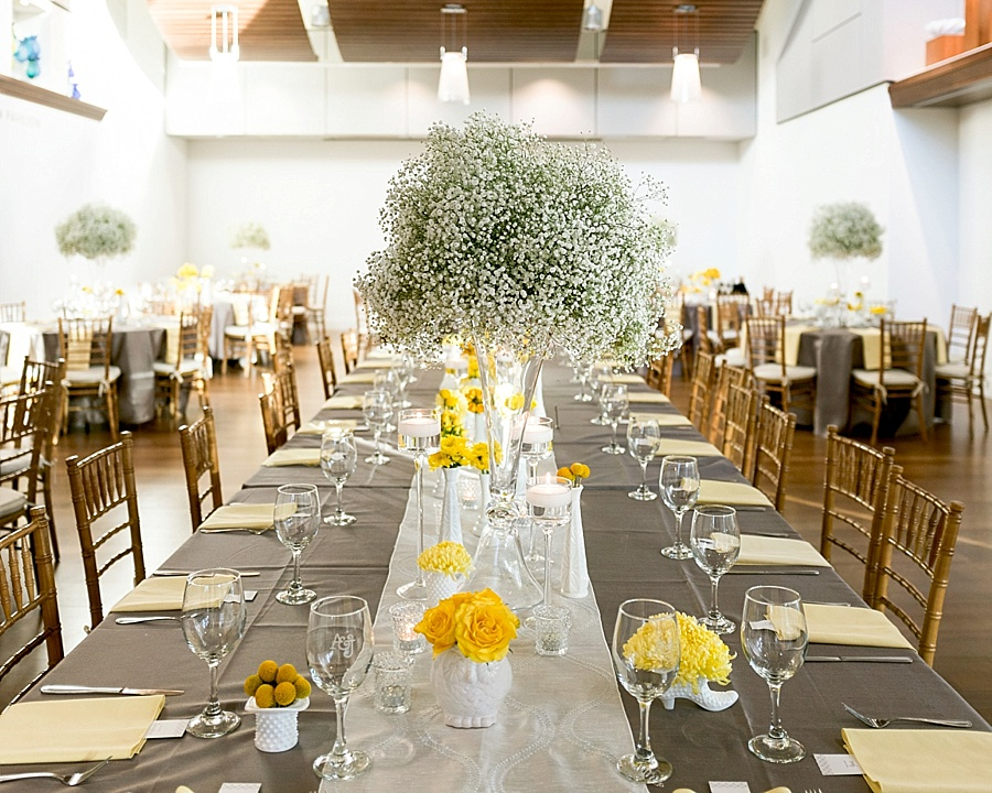Yellow and gray wedding colors at Foundation for the Carolinas in Charlotte NC
