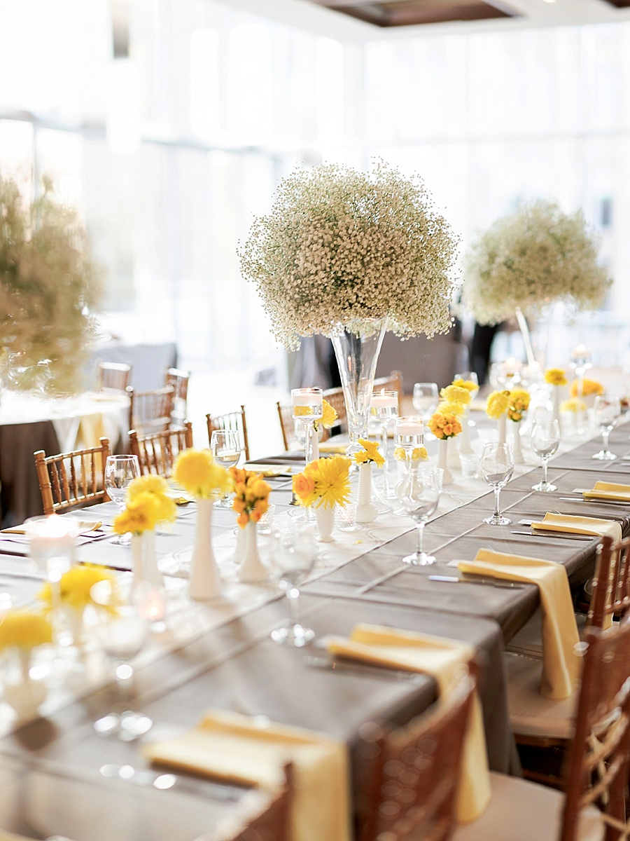 Yellow and Gray table settings at Foundation for the Carolinas in Charlotte NC