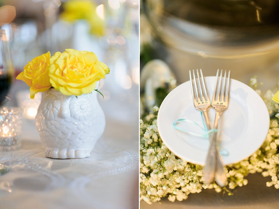 Table details of yellow roses and Mr & Mrs forks at Foundation for the Carolinas in Charlotte NC
