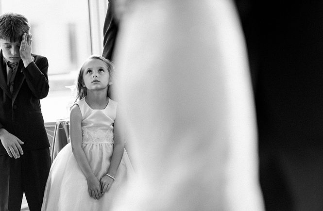 Flower girl impatiently waiting at the Foundation for the Carolinas in Charlotte NC