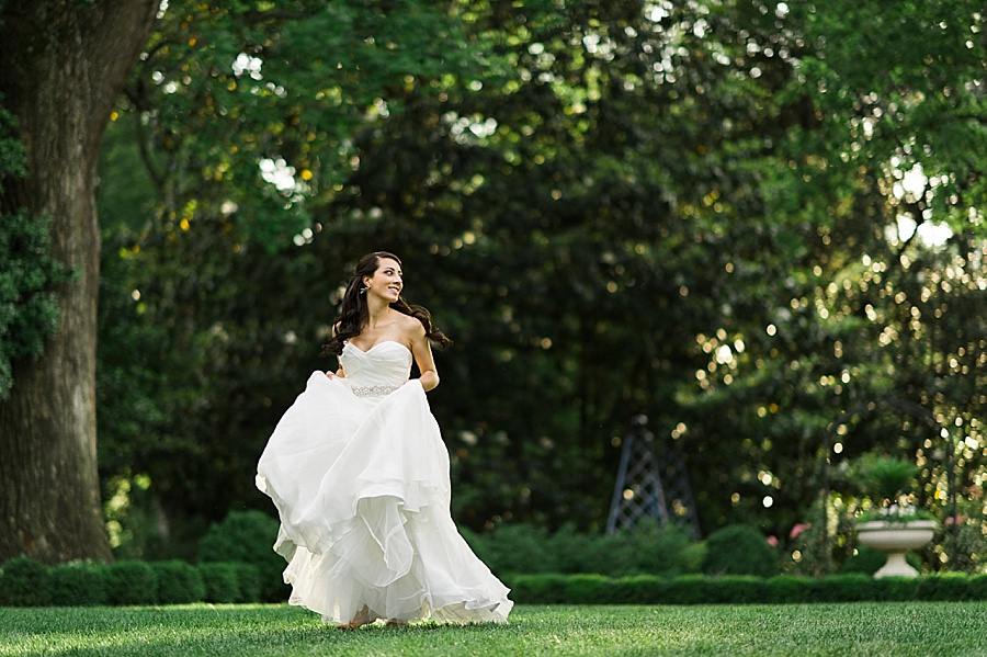 Bride skipping at the Duke Mansion in Charlotte NC