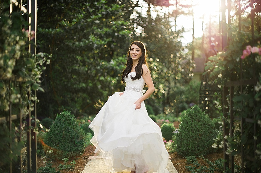 Bride in the gardens at Duke Mansion in Charlotte NC