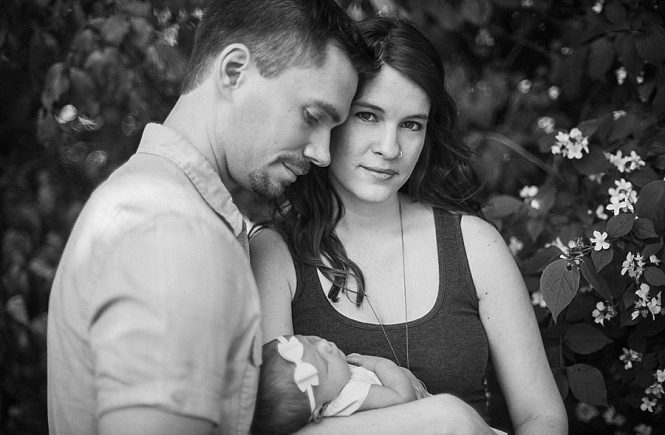 Newborn session of family with baby girl in Charlotte NC