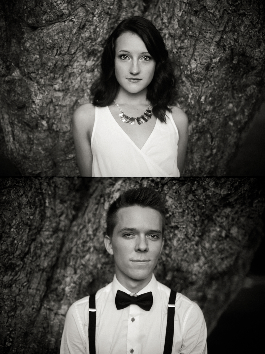B&W headshots of man and woman in front of a tree in Charlotte NC
