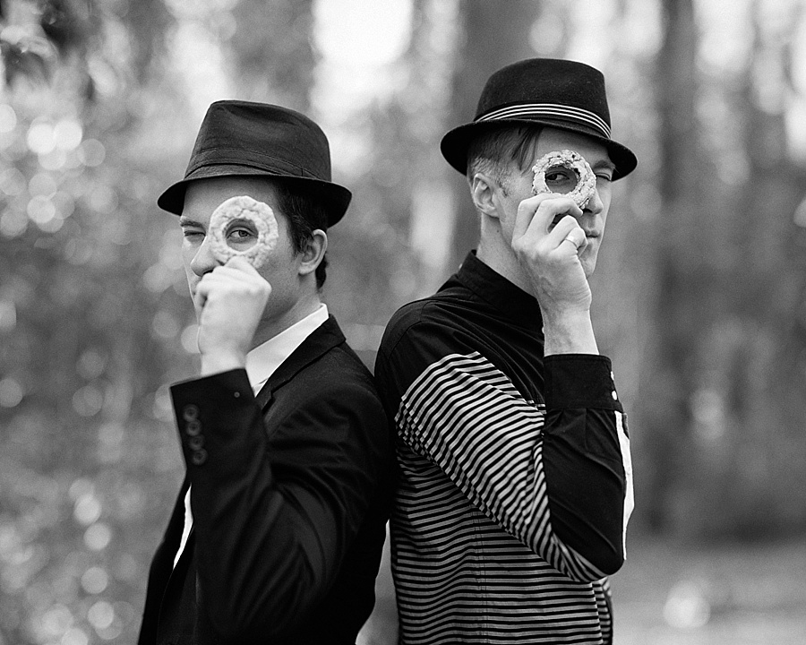 Two men with cookie monocles for The Cookie Cult in Charlotte NC