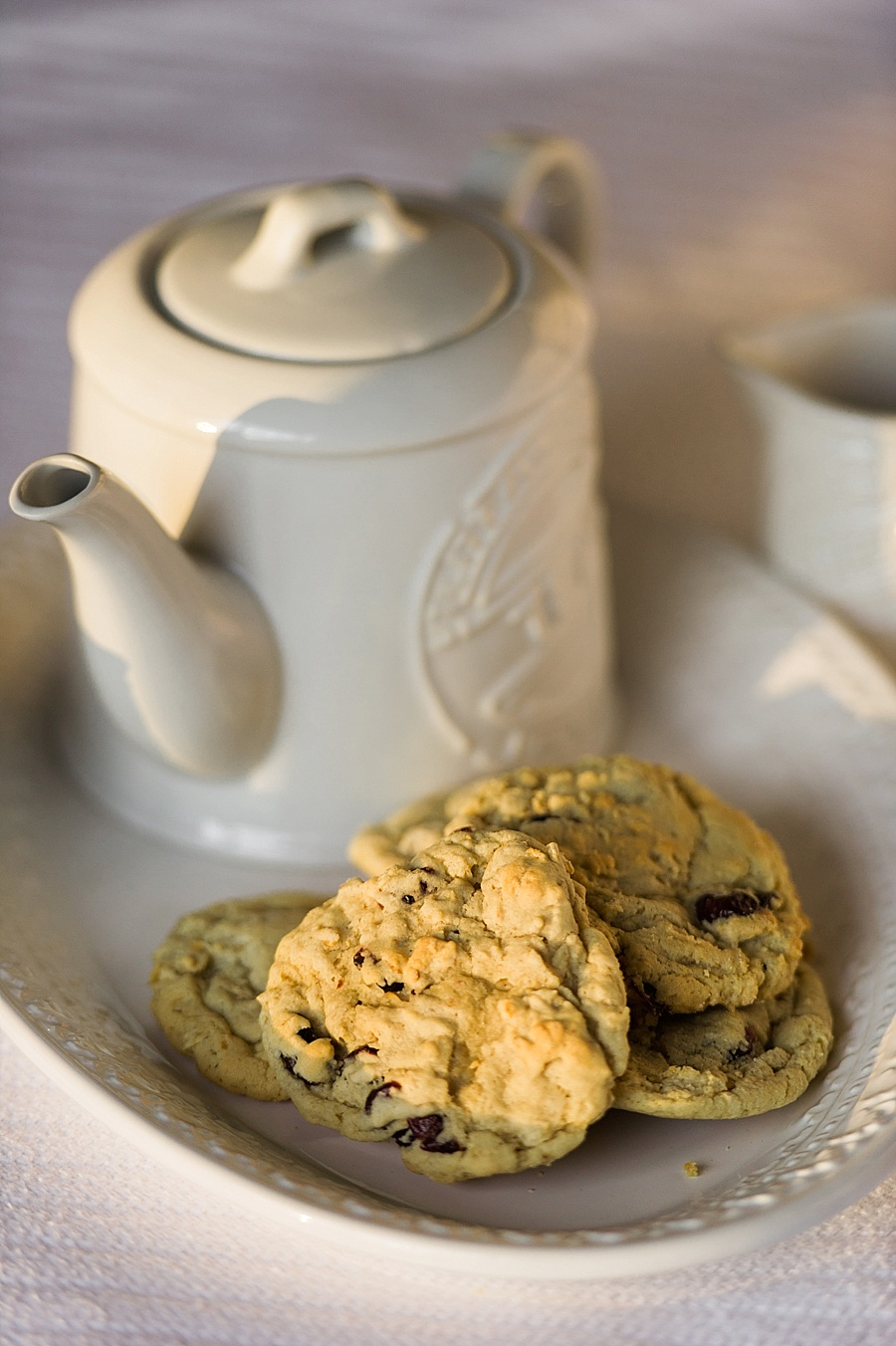 Cookies on a plate and a tea pot for The Cookie Cult in Charlotte NC
