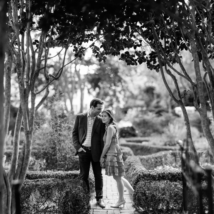 Couple at Wing Haven Gardens in Charlotte NC