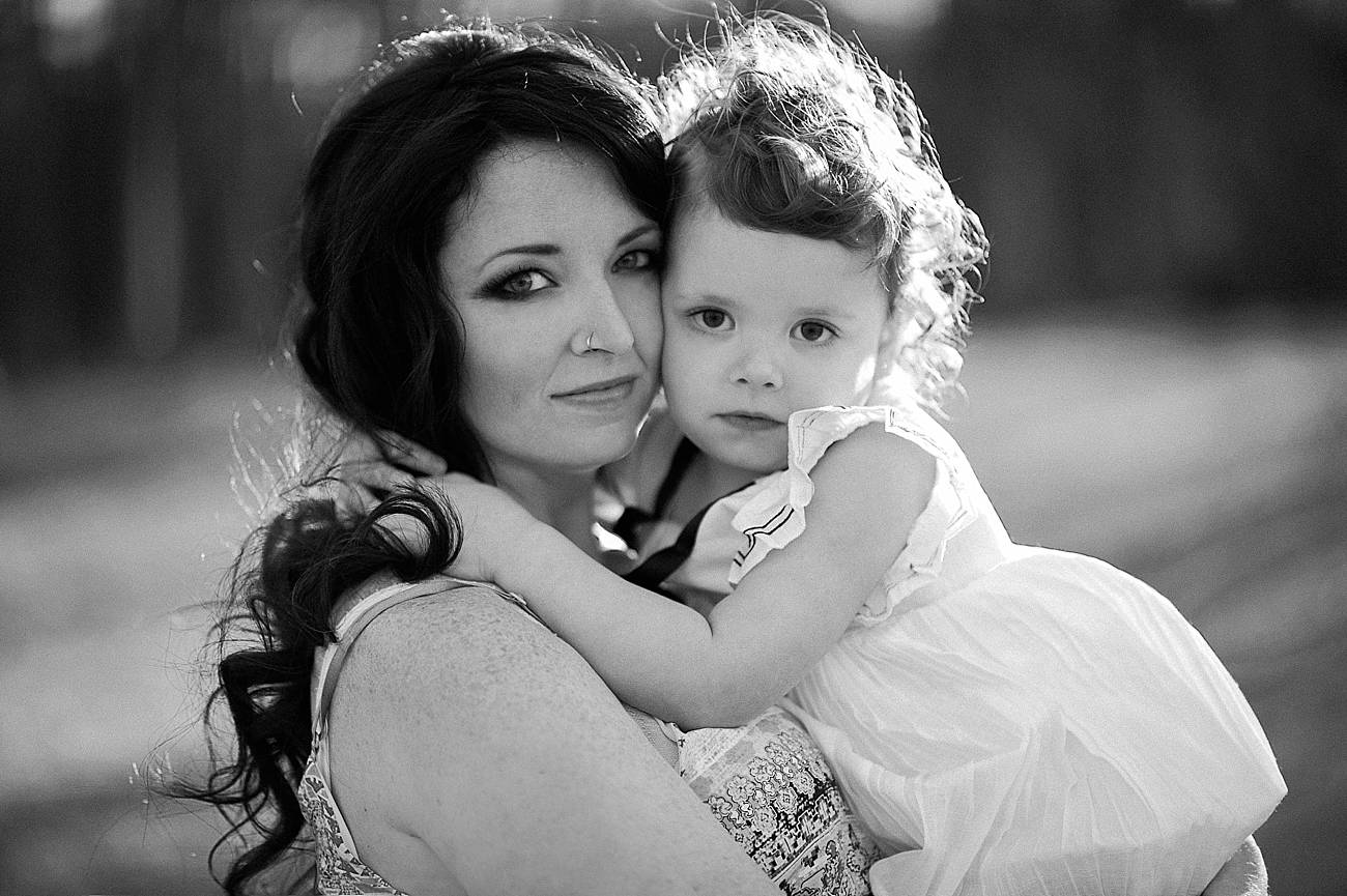 black and white photo of a mother and daughter at Westminster Park, Rock Hill, SC