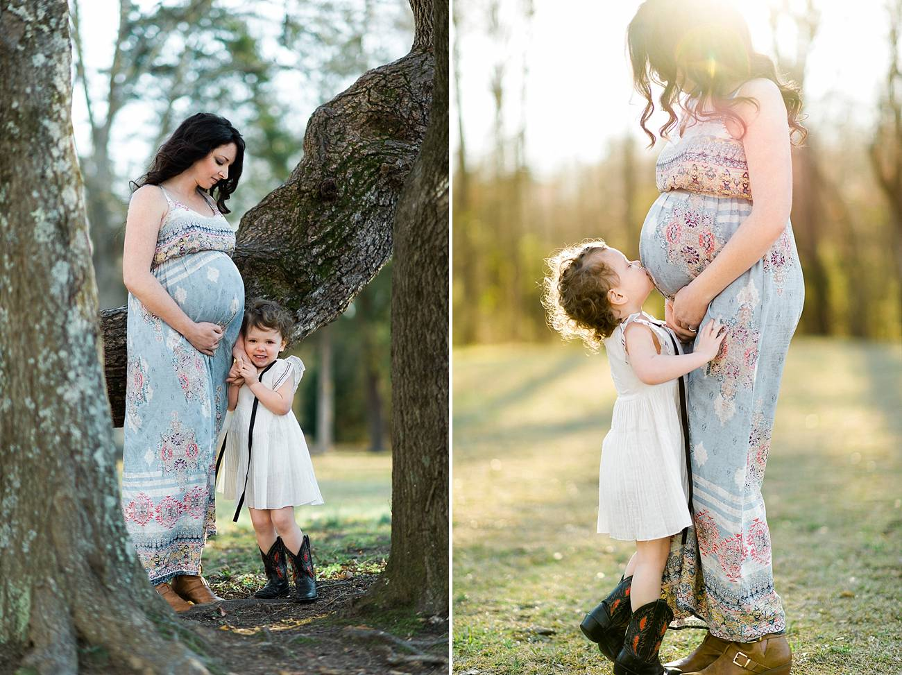 a little girl snuggles up to her mother and kisses her belly during her maternity shoot at Westminster Park, Rock Hill, SC