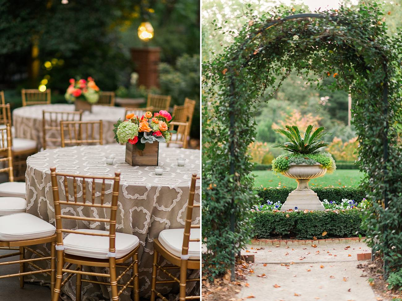 Topiaries and table settings at the Duke Mansion