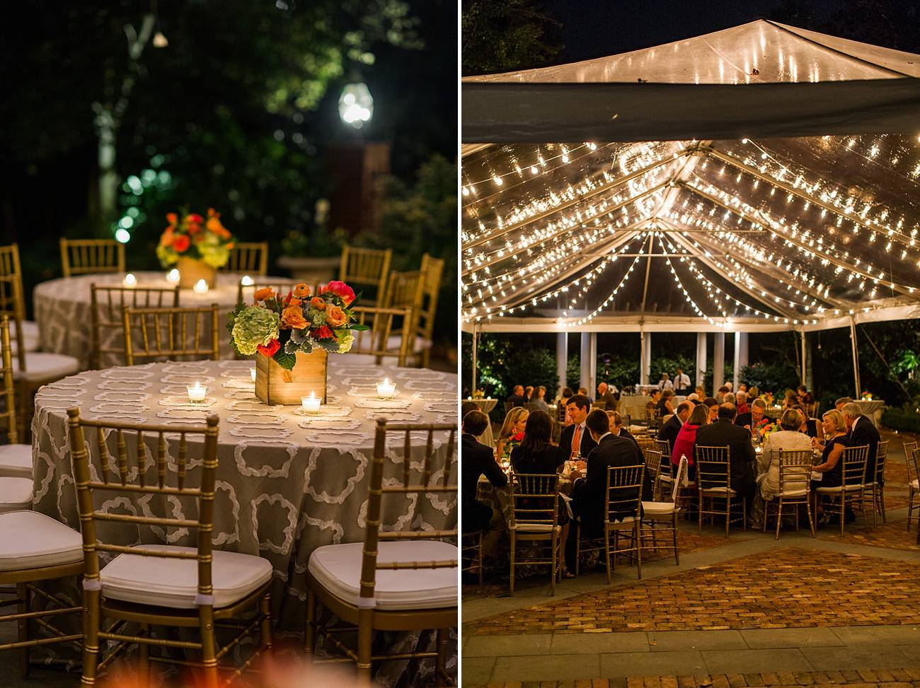 Table settings and the tent at the Duke Mansion in Charlotte, NC